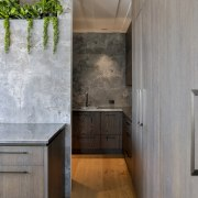 A wall of cabinetry leads to the kitchen's