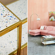 This Terrazzo coffee table by Anthropologie is floor, flooring, furniture, interior design, product, table, wall, wood, white