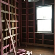 Diary of a renovation: Volume one - building building, floor, furniture, ladder, room, shelving, wall, window, black