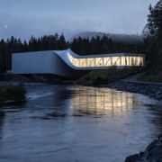 The Twist Museum is a fitting conclusion to architecture, bank, bridge, river, tree, water, watercourse, waterway, black