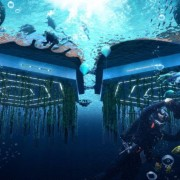 Below sea level, beneath the platforms, biorock floating action-adventure game, cg artwork, digital compositing, illustration, organism, space, underwater, world, blue
