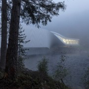 Seen through a dawn mist, the Twist Museum architecture, atmospheric phenomenon, fog, haze, mist, morning, sky, tree, black
