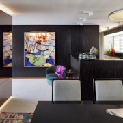 For this fit-out of a harbourfront apartment by interior design, living room, lobby, room, black, gray