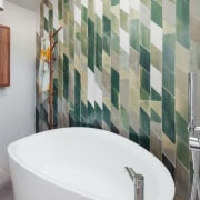 ​​​​​​​Inspired by leaf forms and colours of eucalyptus architecture, bathroom, ceramic, floor, flooring, interior design, tile, wall, gray, white, mosaic, Day Bukh Architects