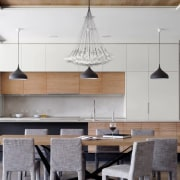 See more here ceiling, countertop, dining room, furniture, interior design, kitchen, light fixture, table, gray