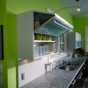 The twin wall cabinets of the kitchen architecture, countertop, interior design, kitchen, gray