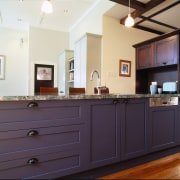 view of kitchen cabinetry which hint an historic cabinetry, countertop, furniture, home, interior design, kitchen, property, real estate, room, black, white