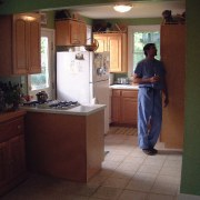 view of the original kitchen area cabinetry, countertop, floor, flooring, furniture, home, home appliance, house, kitchen, room, red