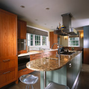 view of the new kitchen featuring stainless steel cabinetry, countertop, cuisine classique, interior design, kitchen, real estate, room, gray, brown
