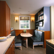 view of the new breakfest den with extra cabinetry, ceiling, countertop, furniture, interior design, kitchen, real estate, room, brown, gray