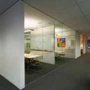 A view of the various interiors used within architecture, ceiling, floor, glass, interior design, office, wall, gray, black