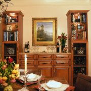 view of the formal dining area featuring antique dining room, furniture, home, interior design, living room, room, table, orange, brown