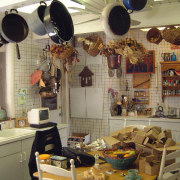 Before shot of the old cluttered kitchen interior design, room, brown