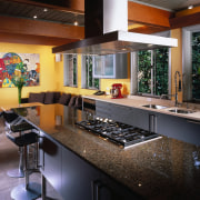 view of the new kitchen featuring cherry veneer countertop, interior design, kitchen, real estate, black