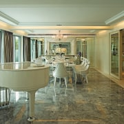 A view of the dining area, marble flooring, ceiling, dining room, estate, floor, flooring, home, interior design, real estate, window, brown