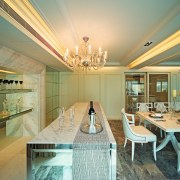 A view of the kitchen and dining area, ceiling, dining room, estate, home, interior design, real estate, room, brown