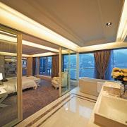A view of the ensuite, tiled floor, white ceiling, estate, interior design, real estate, room, suite, window, brown, orange