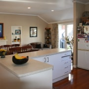 A view of the kitchen area before it countertop, home, interior design, kitchen, living room, real estate, room, table, gray, brown