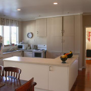 A view of the kitchen before it was cabinetry, countertop, interior design, kitchen, real estate, room, gray, brown