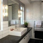 A view of this home hiding the facade architecture, bathroom, countertop, floor, home, interior design, kitchen, room, sink, tile, gray