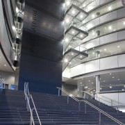 Image of the Owen G Glenn Building at architecture, building, corporate headquarters, daylighting, daytime, headquarters, line, metropolis, metropolitan area, steel, structure, gray, blue