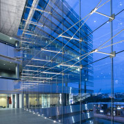 Thermosash and Woods Glass worked closley to create architecture, blue, building, commercial building, corporate headquarters, daylighting, daytime, facade, glass, headquarters, leisure centre, line, metropolis, metropolitan area, mixed use, reflection, sky, structure, blue, teal