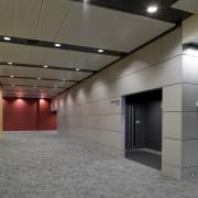 interior view of the Owen G Glenn Building ceiling, daylighting, floor, gray