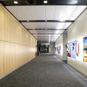 interior view of the Owen G Glenn Building ceiling, infrastructure, gray, orange