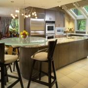 View of kitchen, glass; granite and stone countertops, countertop, cuisine classique, dining room, flooring, interior design, kitchen, room, window, brown