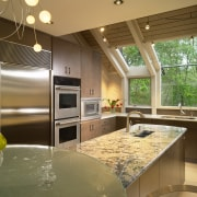 View of kitchen, glass; granite and stone countertops, countertop, interior design, kitchen, real estate, window, brown