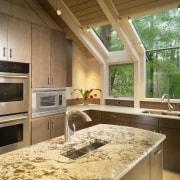View of kitchen, glass; granite and stone countertops, countertop, interior design, kitchen, brown, orange