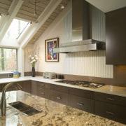 View of kitchen, glass; granite and stone countertops, cabinetry, countertop, cuisine classique, interior design, kitchen, room, brown, white