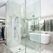 View of the glass-walled shower which separates the bathroom, estate, home, interior design, property, real estate, room, white