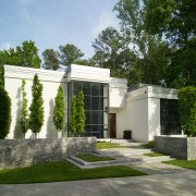 View of white home. architecture, estate, facade, home, house, mansion, property, real estate, residential area, green