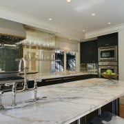 Anthracite gray cabinets contraced white veined marble countertops countertop, estate, interior design, kitchen, real estate, room, gray
