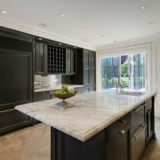 Anthracite gray cabinets contraced white veined marble countertops cabinetry, countertop, cuisine classique, flooring, interior design, kitchen, real estate, room, gray, black