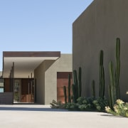 Minimalist desert new house architecture, building, elevation, facade, home, house, property, real estate, residential area, teal