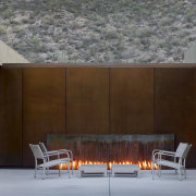 In this desert landscape, LED lights beneath the architecture, facade, house, interior design, wall, gray, brown