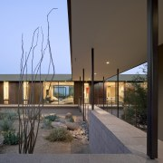 Minimalist desert new house architecture, building, facade, home, house, real estate, window, brown, gray