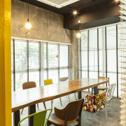 Meeting rooms in the Singapore offices of warner interior design, real estate, restaurant, room, table, window, white, brown