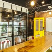 Vintage chairs create a talking point in this café, interior design, brown, orange
