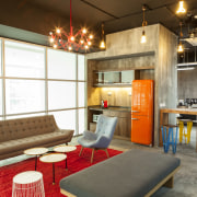 Contemporary, light-filled breakout area for Warner Music, Singapore interior design, loft, real estate, table, brown, white