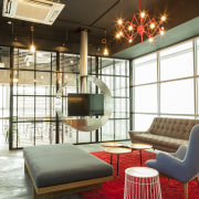 Warner Music - Vibrant hip workplace architecture, ceiling, interior design, living room, loft, real estate, white, brown