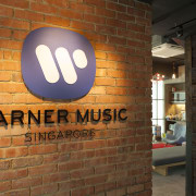 Warner Music offers a vibrant hip workplace for brick, font, wall, brown