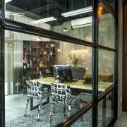 Warner Music - Vibrant hip workplace glass, interior design, brown, black