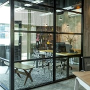 Glass-walled, light-filled senior office in Warners Music fit-out door, glass, interior design, window, white
