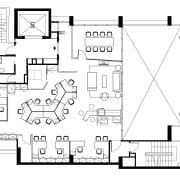 Floorplan of open-plan offices at Warner Music, Singapore area, black and white, design, diagram, drawing, floor plan, font, line, plan, product design, square, text, white