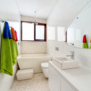 Colourful linen enlivens this all-white family bathroom on interior design, product design, room, white