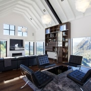 The central living space in a renovated home architecture, ceiling, daylighting, house, interior design, living room, property, real estate, room, window, white, black
