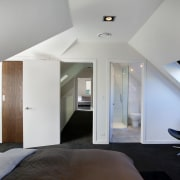 Two upstairs bedrooms and a new bathroom feature architecture, ceiling, daylighting, floor, house, interior design, loft, real estate, room, gray